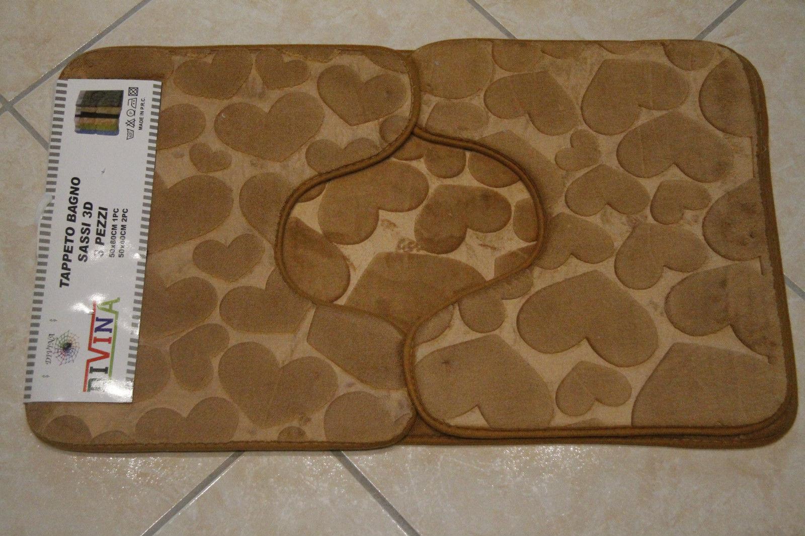 Tris tappetini tappeti bagno antiscivolo shabby chic cuori poliestre marrone ebay - Tris tappeti bagno ...