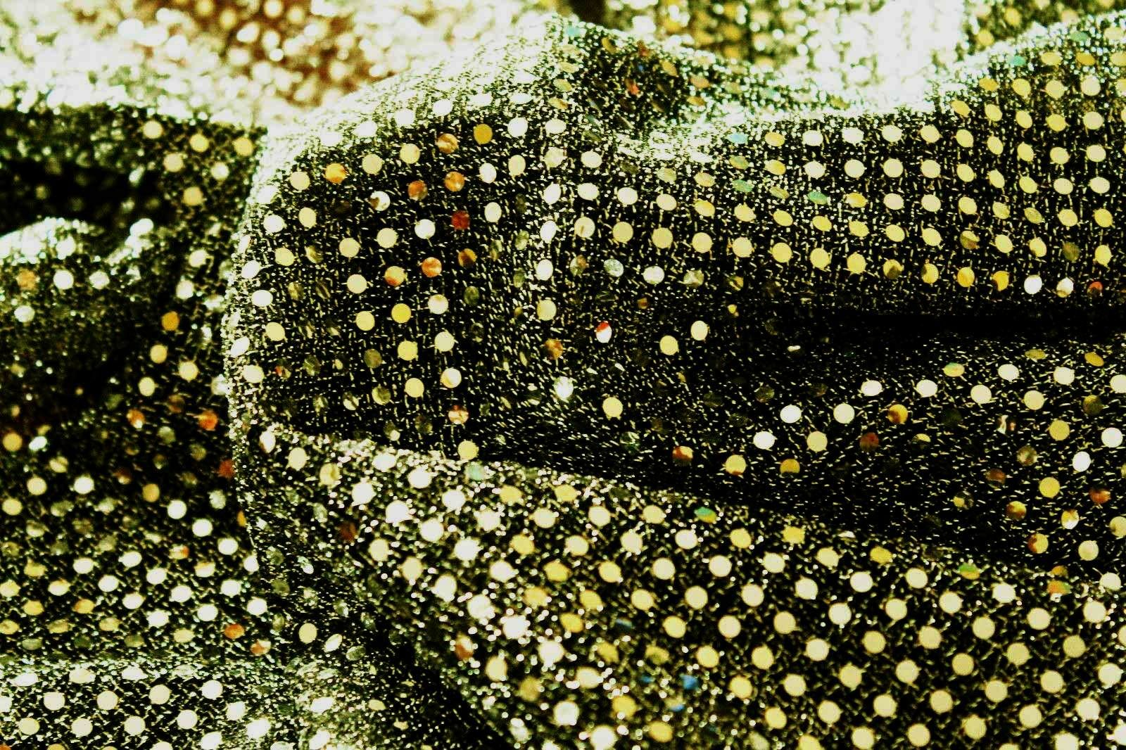 Tessuto LUREX Maglina Paillette Pagliet Sequin BALLO Elasticizzato 1 x 1.15 m