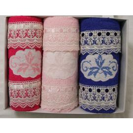 Set Asciugamani HOME Collection  3+3 Viso Ospite FUXIA ROSA BLU  Macrame'