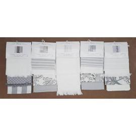 Set Tris STROFINACCI Panni da Cucina 100% cotone GRIGIO BIANCO 50 x 70 cm