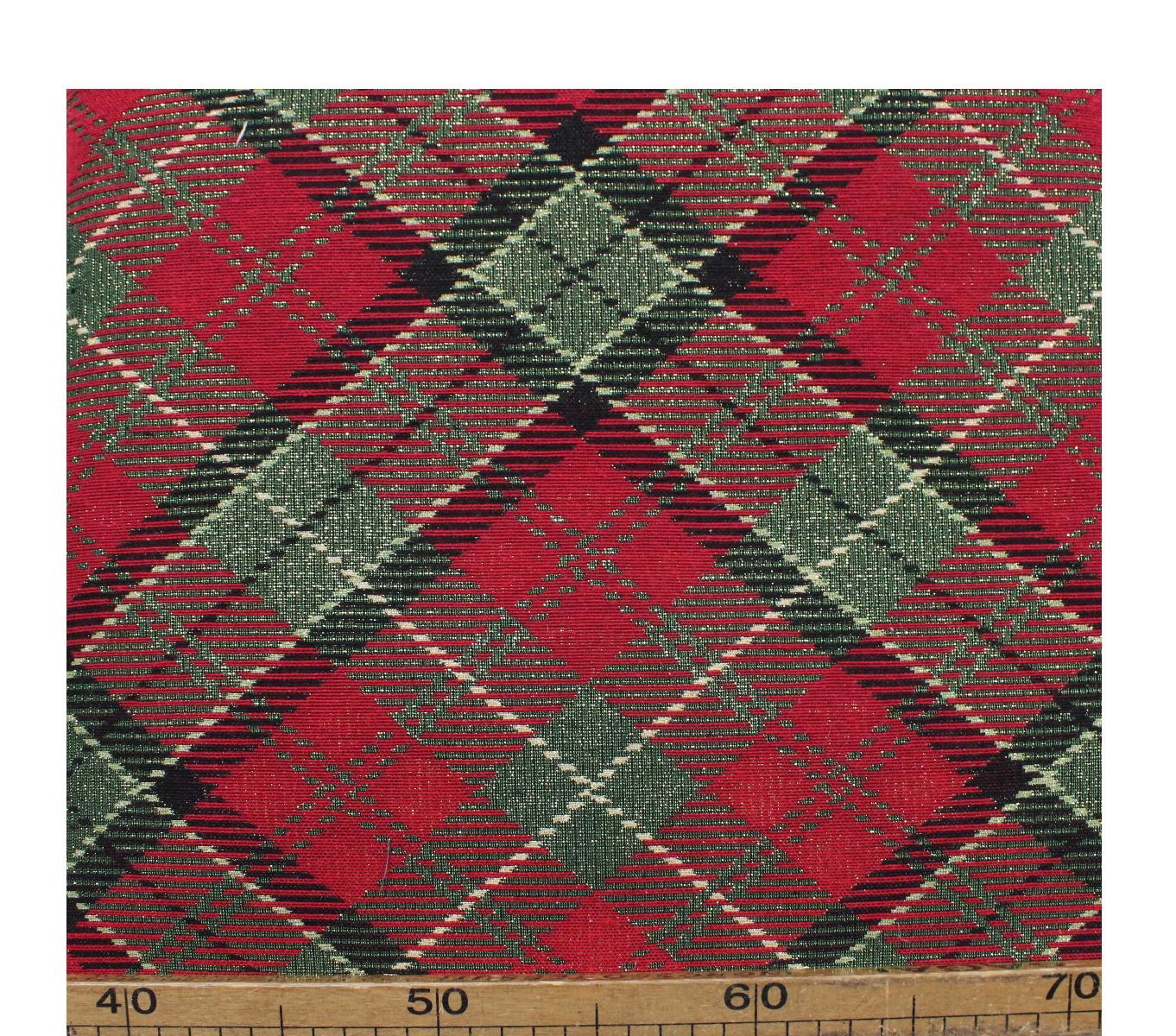 Tessuto Natale Natalizio Gobelin Cotone Lurex Scozzese Rosso 50x280 cm