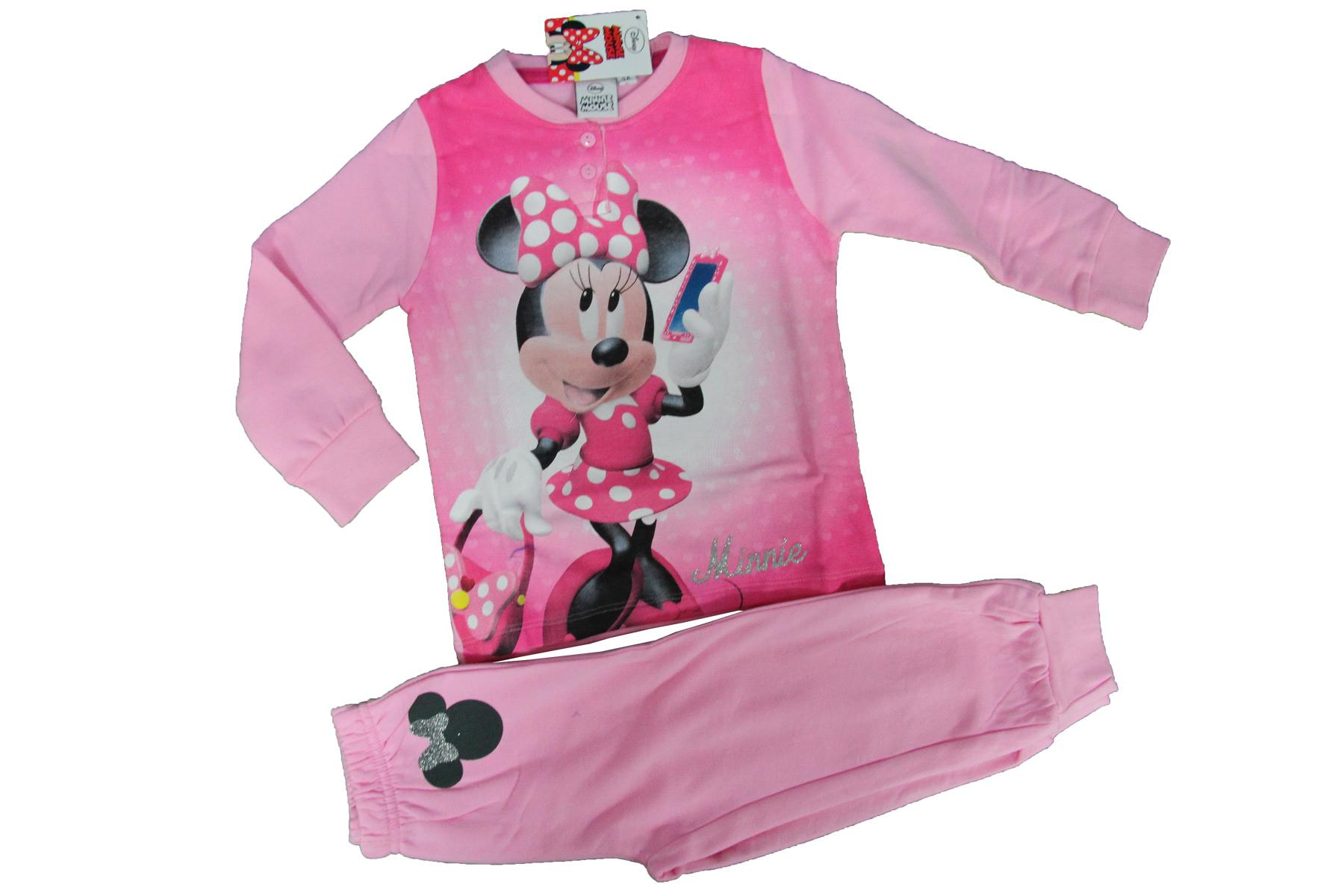 codice promozionale 54b44 44813 Dettagli su Pigiama Bimba Bambina DISNEY Minnie Mouse Originale FUXIA Rosa  Caldo Cotone
