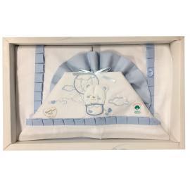 TR Compose' Lettino Baby Lenzuola Tela Rosa Celeste 100% Cotone Art.101Dis. 30