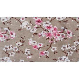 Tessuto Cotone Fondo Sabbia Corda Stampato Stampa Sakura Fiori di Pesco Rosa