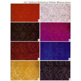 Tessuto Abbigliamento Velluto Bielastico Glitter Monocolore Danza 100x140 cm