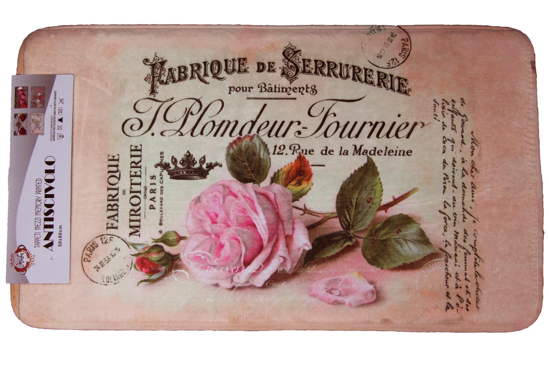 Tappetino tappeto tris bagno 3d marilyn antiscivolo pvc stampa rose salmone rosa ebay - Tris tappeti bagno ...